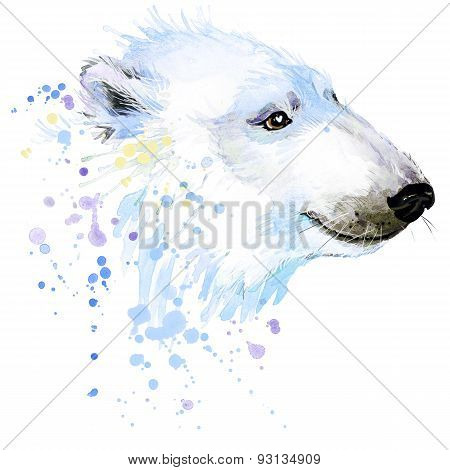 polar bear T-shirt graphics, polar bear illustration with splash watercolor textured background.