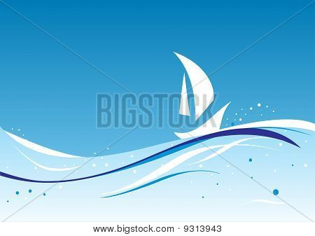 Abstract Wavy Vector With sailboat's Silhouette