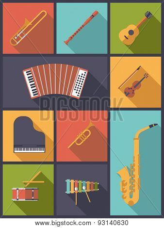 Musical Instruments Icons Vector Illustration. Vertical flat design illustration with icons of musical instruments children can learn.