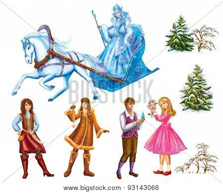 Set cartoon Characters Gerda , Kai , Lappish Womanand trees for fairy tale Snow Queen