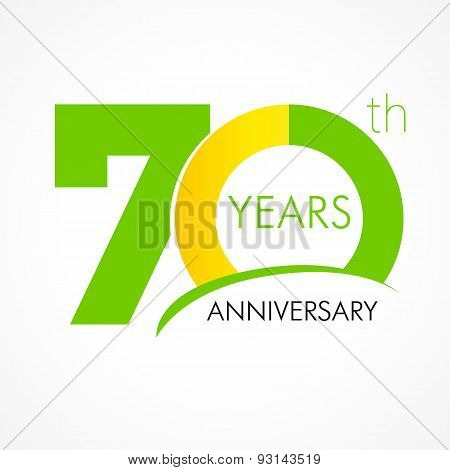 70 years old celebrating classic logo. Anniversary year of 70 th vector template. Birthday greetings celebrates. Traditional digits of jubilee ages . Colored letter O.