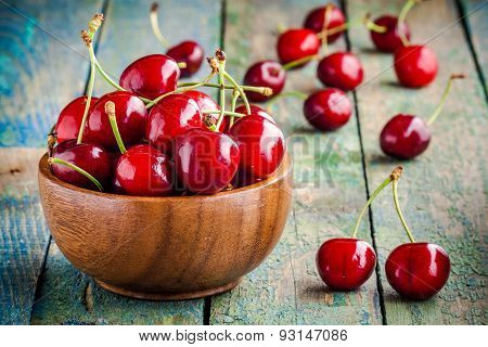 Ripe Juicy Cherry In A  Bowl
