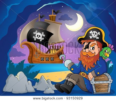 Sitting pirate theme image 7 - eps10 vector illustration.
