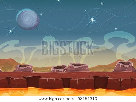 Fantasy Alien Planet Desert Landscape For Ui Game