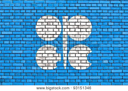 Flag Of Opec Painted On Brick Wall