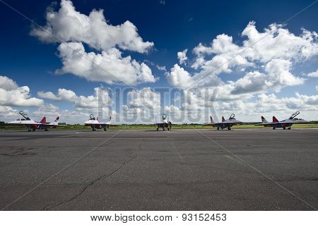 Saint-Petersburg,Russia - Jun 01, 2012: Parking of Russian fighter jet Mig-29 aerobatic team Swifts.