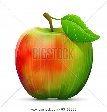 Apple with leaf isolated on white background. Qualitative vector illustration about apple agriculture fruits cooking gastronomy etc. poster