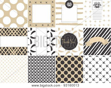 Card Set Template With Seamless Patterns In Gold