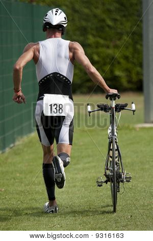Triathlete in the transition zone
