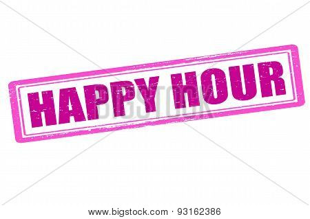 Rubber stamp with text happy hour inside vector illustration