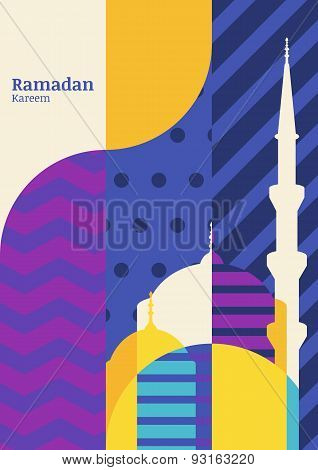 Ramadan Vector Greeting Card, Silhouette Of Mosque With Geometric Pattern. Abstract Flat Color Block