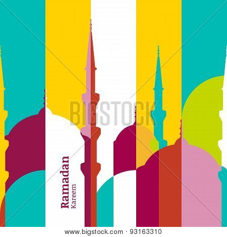 Ramadan Vector Greeting Card With Silhouette Of Mosque. Vector Multicolor Seamless Background. Ramad