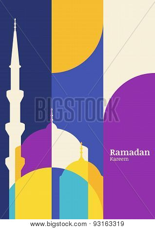 Ramadan Vector Greeting Card With Silhouette Of Mosque. Abstract Flat Color Blocking Vector Backgrou