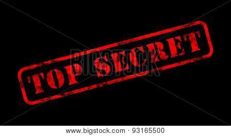 Top Secret Red Rubber Stamp On Black