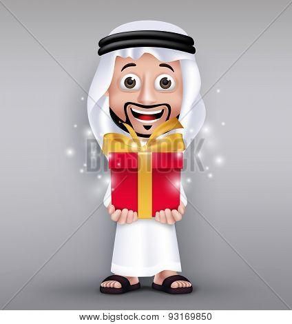 Realistic Saudi Arab Man Wearing Thobe Giving Red Gift