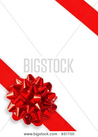 Red Gift Ribbon Over White