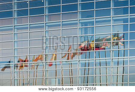 All European Union Member Countries Flags Reflected In European Parliament Facade