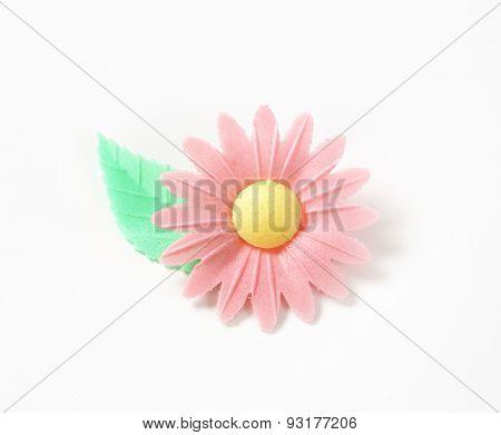 sugar flower - eatable cake decoration on white background