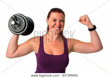 Beautiful fitness female with dumbbell