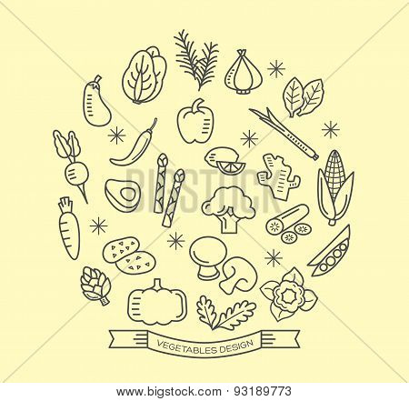 Vegetable Line Icons With Outline Style Design Elements
