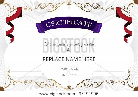 Certificate Border, Certificate Template. Vector Illustration
