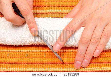 Woman Polishing Nails, Manicure