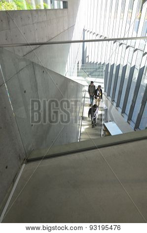 Tokyo, Japan - November 23, 2013: People Visit 21_21 Design Sight Museum.