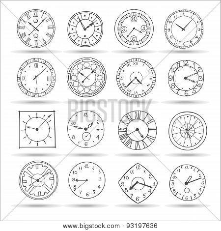 Vector Doodle Clock