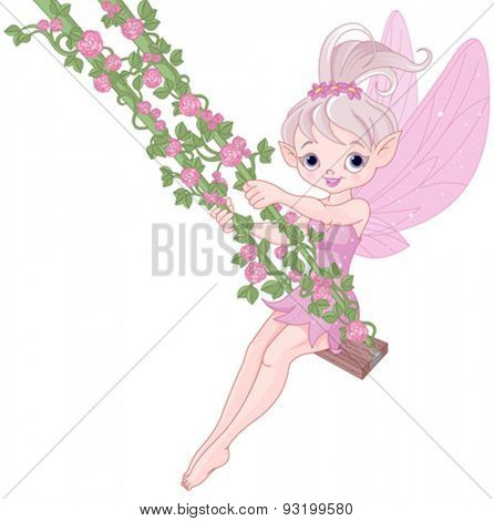 Illustration of Pixy fairy on a swing
