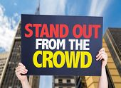 Stand Out From the Crowd card with urban background poster