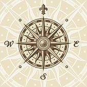 Vintage compass rose in woodcut style. Vector illustration with clipping mask. poster