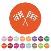 The checkered flag icon. Finish symbol. Flat Vector illustration. Button Set poster