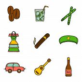 Set of cute hand drawn colorful icons on Cuba theme with rum, coctail Cuba Libre, old car, sugar cane, coffee, guitar, cigar, national woman's dress and famous hat of Che for your cuban design poster