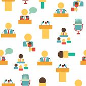 Seamless background on public speaking theme with flat objects: people, microphones, speakers, tribunes for business presentation, seminar or conference for your design poster