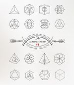 Sacred geometry. Alchemy, religion, philosophy, spirituality, hipster symbols and elements poster