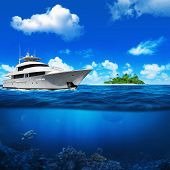 White yacht in the sea. Island with palm trees on the horizon. Turtle under water. poster
