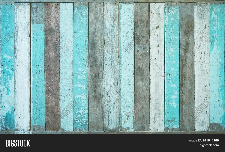 Vintage Board Blue Colored Wood Background