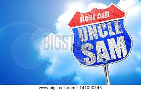 uncle sam, 3D rendering, blue street sign