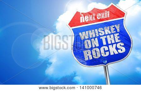 whiskey on the rocks, 3D rendering, blue street sign