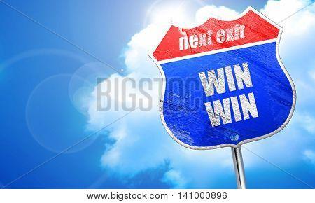 win win, 3D rendering, blue street sign