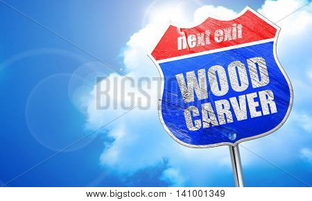wood carver, 3D rendering, blue street sign