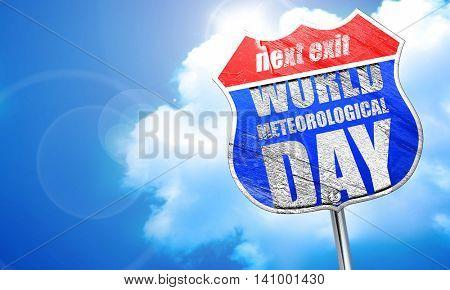 world meteorological day, 3D rendering, blue street sign