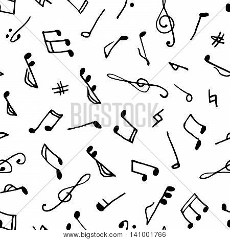 Monochrome seamless music pattern in doodle style on white background. Hand drawn musical theme with clef and notes
