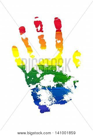 Human grunge rainbow gouache handprint with skin texture isolated on white background. LGBT watercolor sticker. The left palm. Vector illustration.