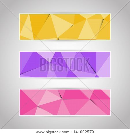 Colorful abstract triangular polygonal banners set, stock vector