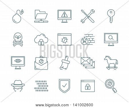 Computer viruses, cyber attack, hacking vector icons set