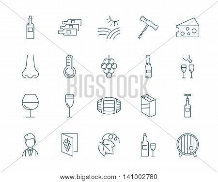 Wine vector icons set modern line style