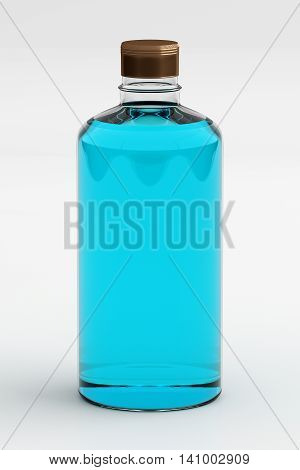 3D rendering of rubbing alcohol or ethanol isolated on white background.