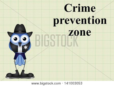 Crime prevention zone USA with sheriff on graph paper background with copy space for own text