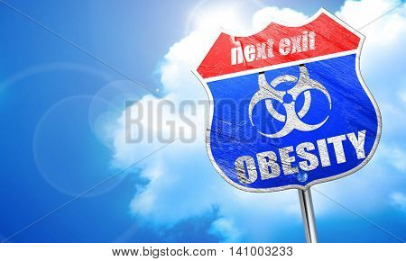 Obesity concept background, 3D rendering, blue street sign